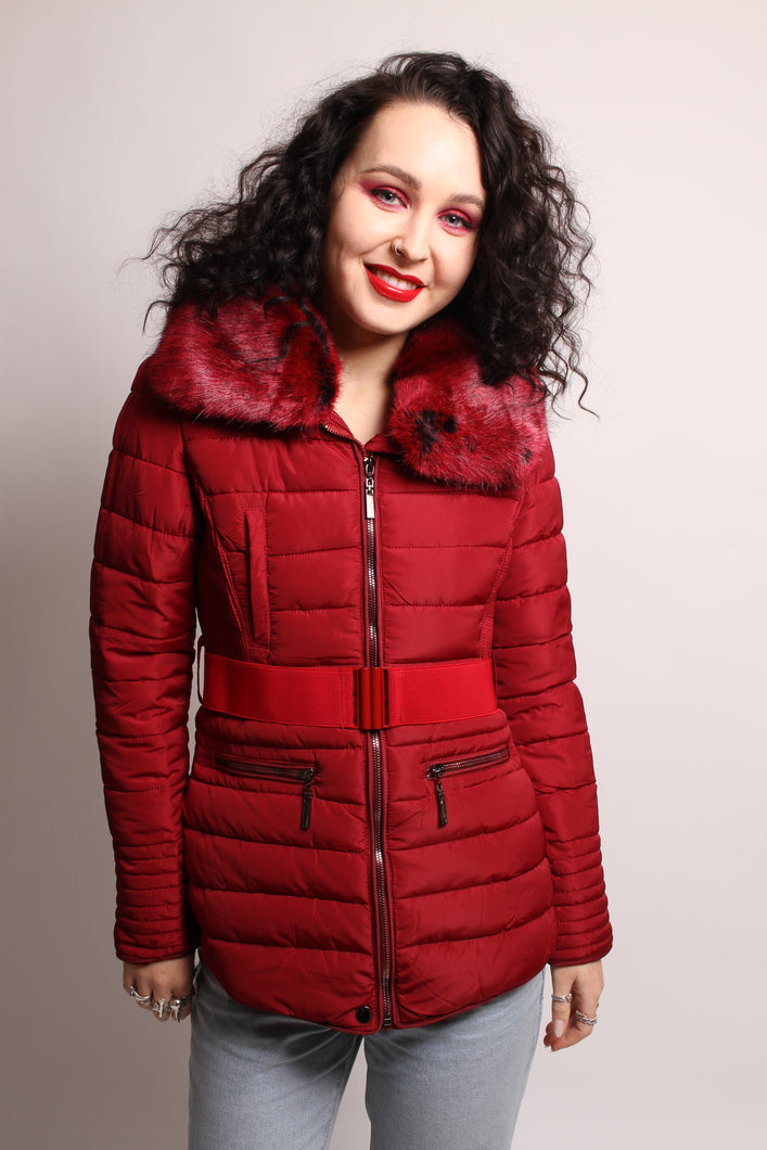 Burgundy Padded Quilted Jacket With Belt And Features - Martinali Fashion