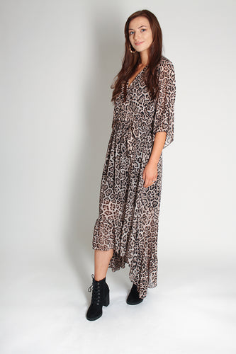 Midi Frill Leopard Print Floaty Dress - Martinali Fashion