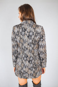 Snake Print Double Breasted Blazer Dress - Martinali Fashion