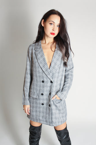 Checked Double Breast Blazer Dress - Martinali Fashion