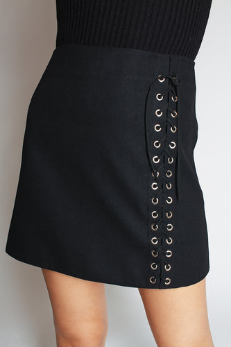 Grommet Lace Up Skirt - black - Martinali Fashion