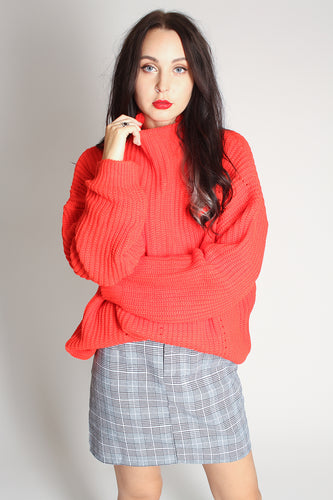 Bright Red Long Sleeved Oversized Jumper - Martinali Fashion