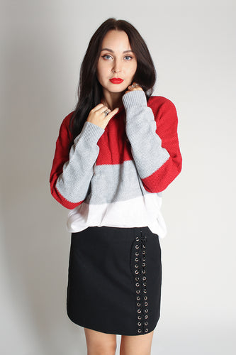 Colour Block Drop Shoulder Jumper - red - Martinali Fashion