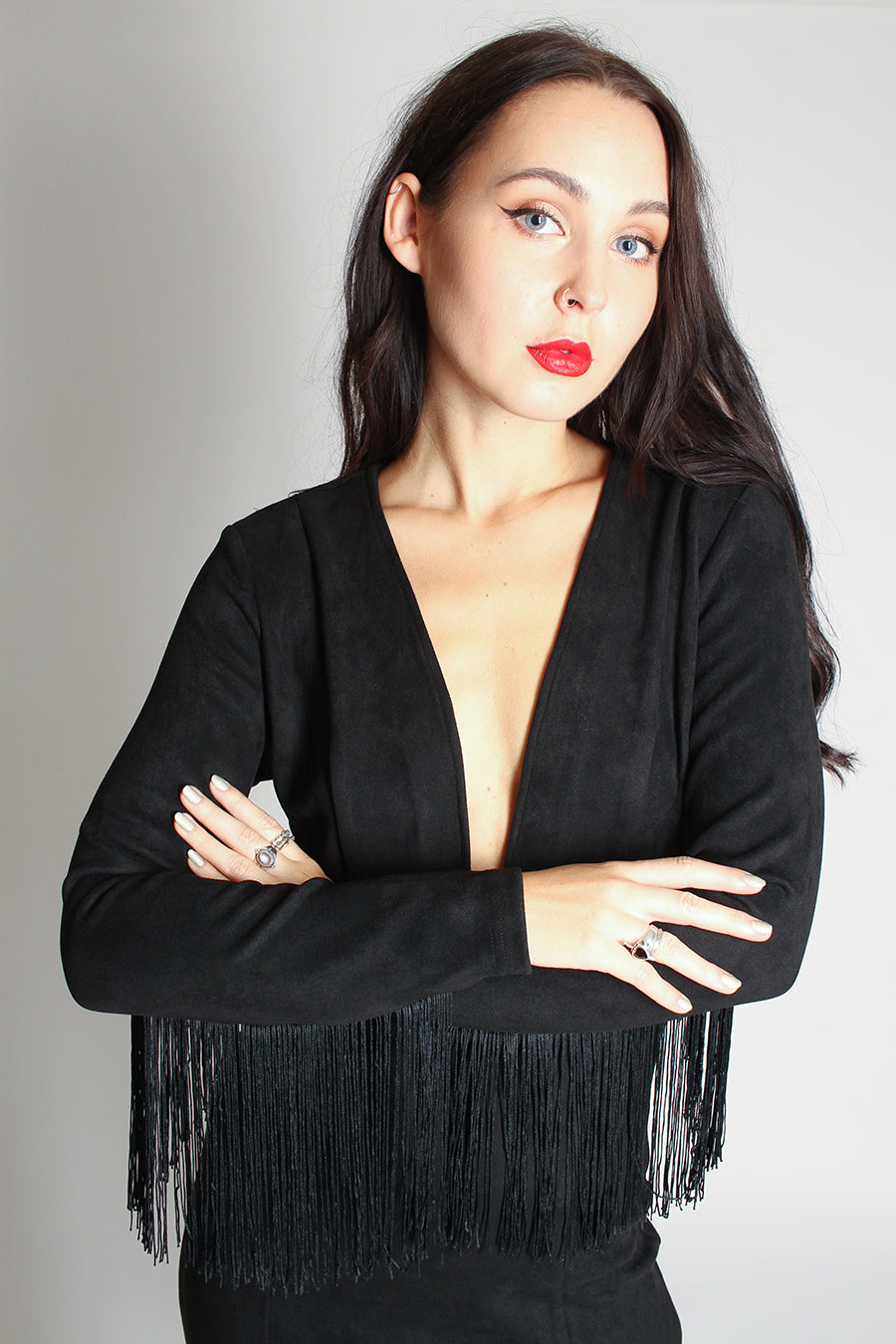 Suede Fringe Sleeve Dress - black - Martinali Fashion