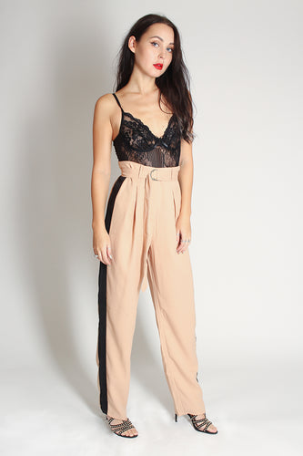 D-Belted Cuff Trouser - nude - Martinali Fashion