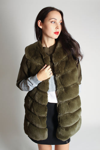 Faux Fur Gilet - khaki - Martinali Fashion