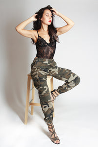 Camo Printed Cargo Trousers - green - Martinali Fashion