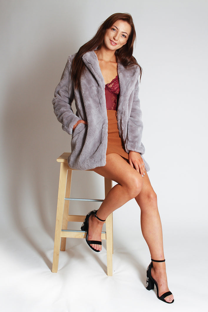 Longline Faux Fur Coat with collar - grey - Martinali Fashion