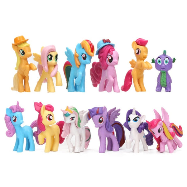 Pony Toys Mini Pony PVC Action Figures Set Rainbow Dash Twilight Sparkle Dragon Dolls