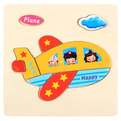 Kids Three-Dimensional 9Colorful Wooden Puzzle Educational Toys