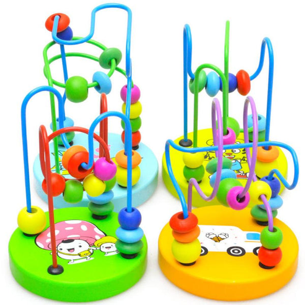 Kids Colorful Wooden Around Beads Educational Game Toys