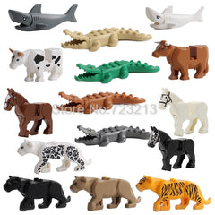 Panther Snow Leopard Single Sale Crocodile Tiger Animal Cow Cattle Horse Shark Building Blocks Set