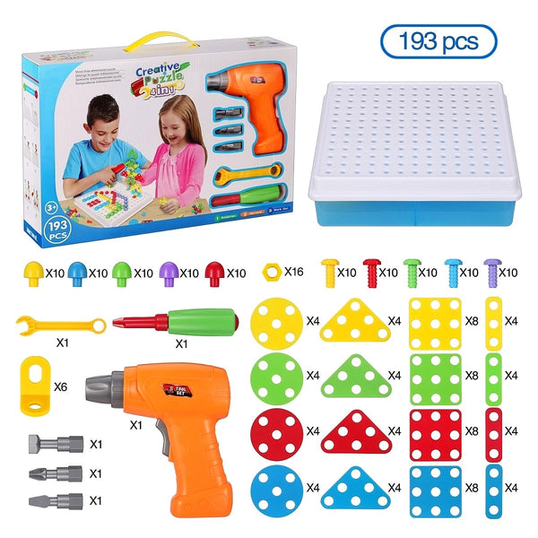 Learning Toys Drill Play Creative Educational Games Mosaic Design Kit