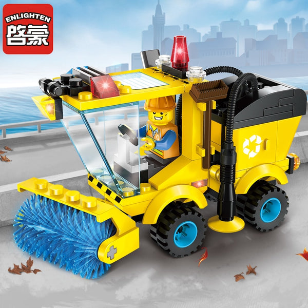 Enlighten Building Block City Cars Street Sweeper 102pcs Educational Bricks Toy