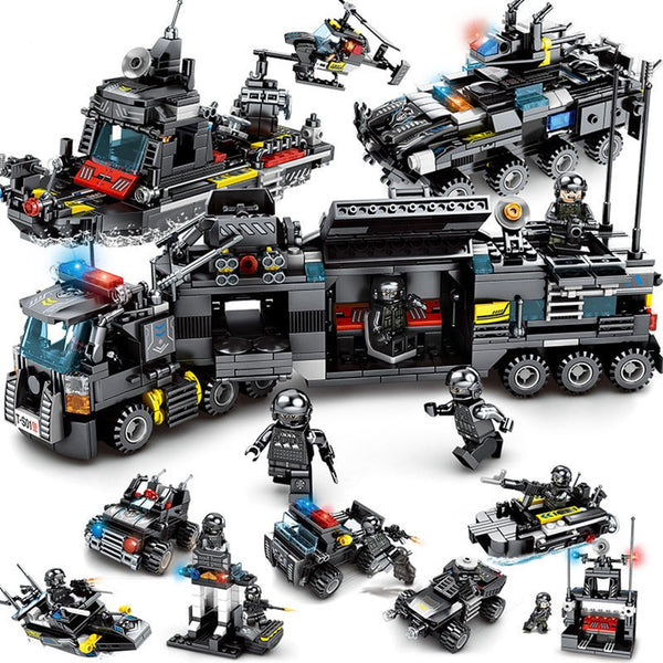SWAT City Police Truck Building Blocks 8pcs/lot Sets