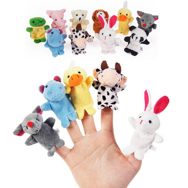 Cute 10PCS Cartoon Biological Animal Finger Puppet Plush Toys