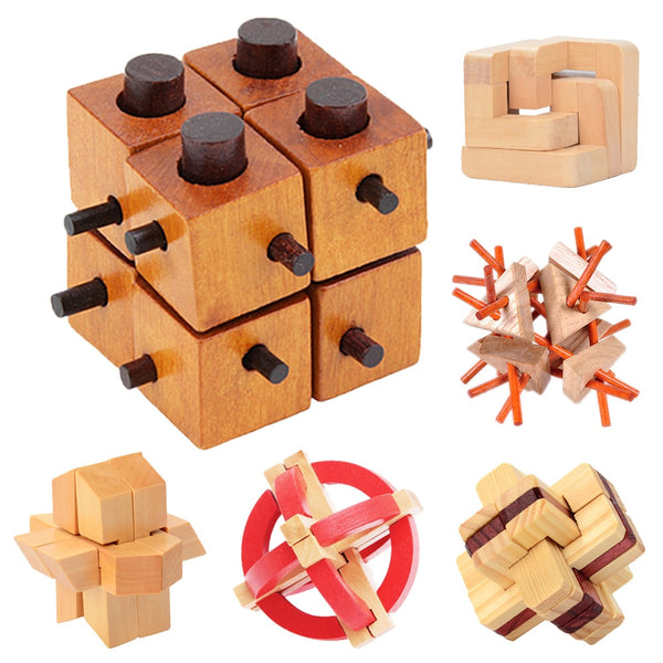 Wooden Intelligence LUBAN ROCKS Brain Teaser Game 3D IQ Puzzle for Kids