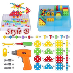 Kids Learning Toys Electric Drill Toy DIY Building Drill Screws Puzzle