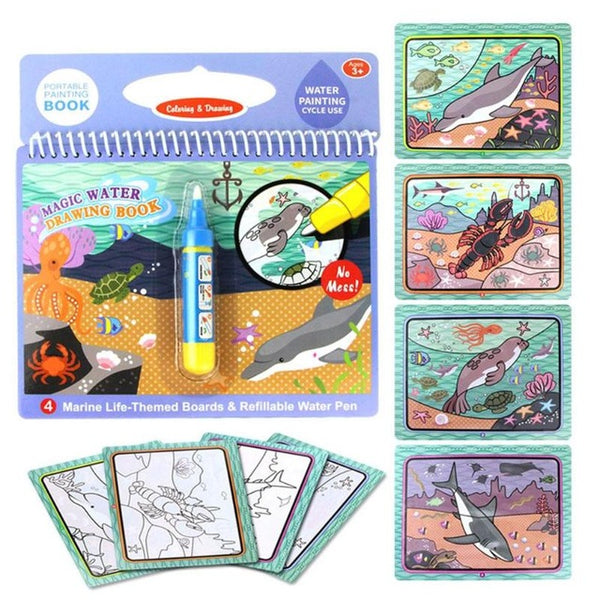 Cartoon Coloring Magic Water Drawing Book+1 Pen Reusable Painting Book