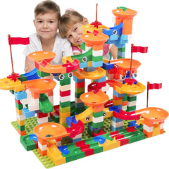 Race Run Maze Ball Track Building Blocks ABS Funnel Slide Assemble Bricks