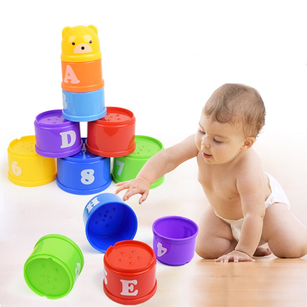 Stacking up Rainbow Cups Tower Boys Girls Bath Time Toys