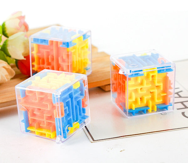3D cube Puzzle Maze Steel Ball Case Box Fun Brain Game Toys