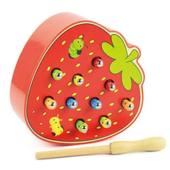 Fruit Shape Kids Wooden Toys Catch Worms Games with Magnetic Sticks