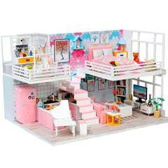 Miniatures Diy Doll House Furniture with LED 3D Wooden Toys Dollhouse