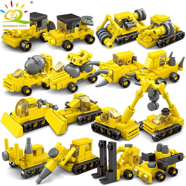 TOYS 8Sets 2in1 Mini Engineering Construction Building Blocks For Children