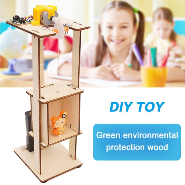 DIY Assemble Electric Lift Toys Kids Science Experiment Material Kits Toys