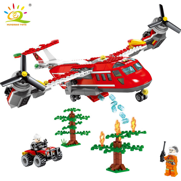 Fire Helicopter Truck Building Blocks For Children Compatible City plane Firefighter Figure Bricks