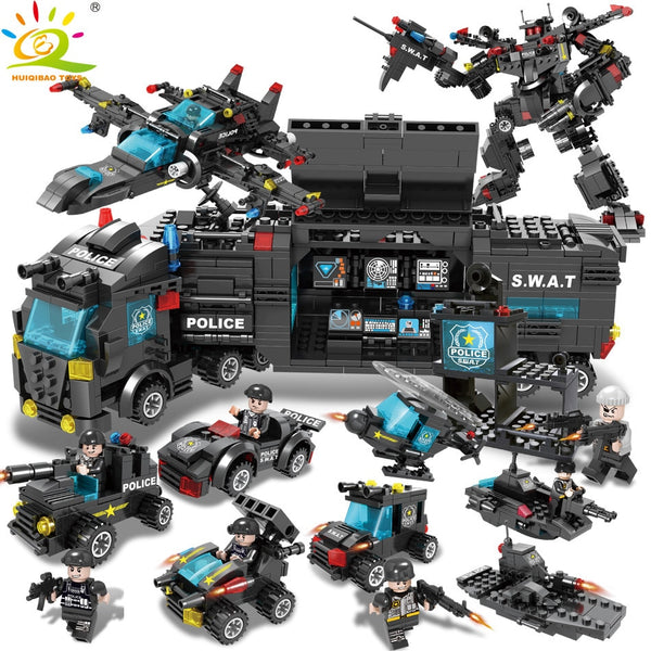 8in1 SWAT Police Truck Soldiers Figure Building Blocks For Children
