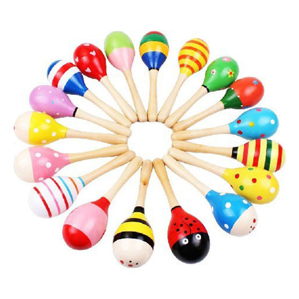 Colorful Wooden Maracas Baby Child Musical Instrument Rattle Shaker Party