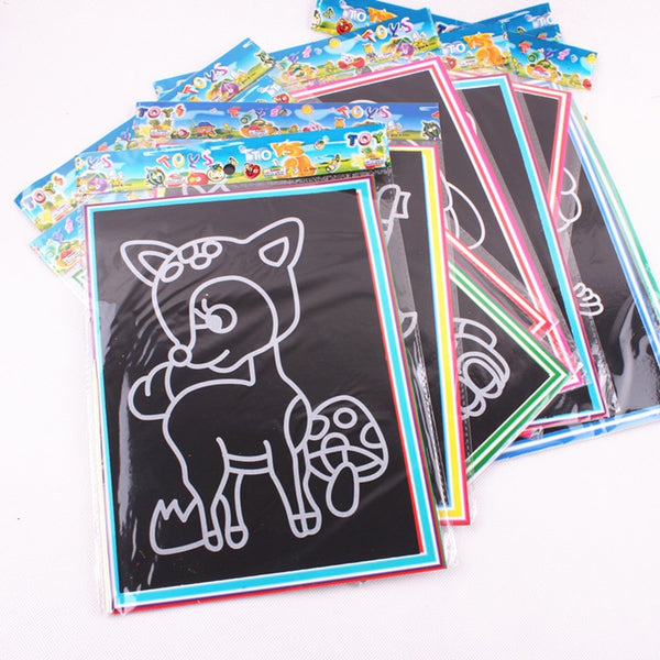 Magic Color Scratch Art Paper Coloring Cards Available On Both Sides Scraping Drawing Toys