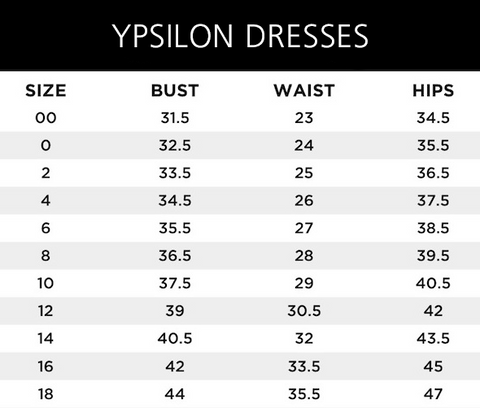 Ypsilon Dresses Sizing Guide