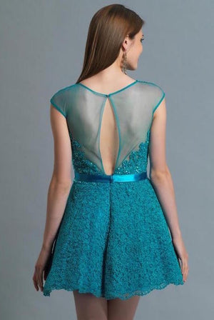 This teal Dave and Johnny 249 lace short dress has a sheer lace neckline and a satin belted waist.