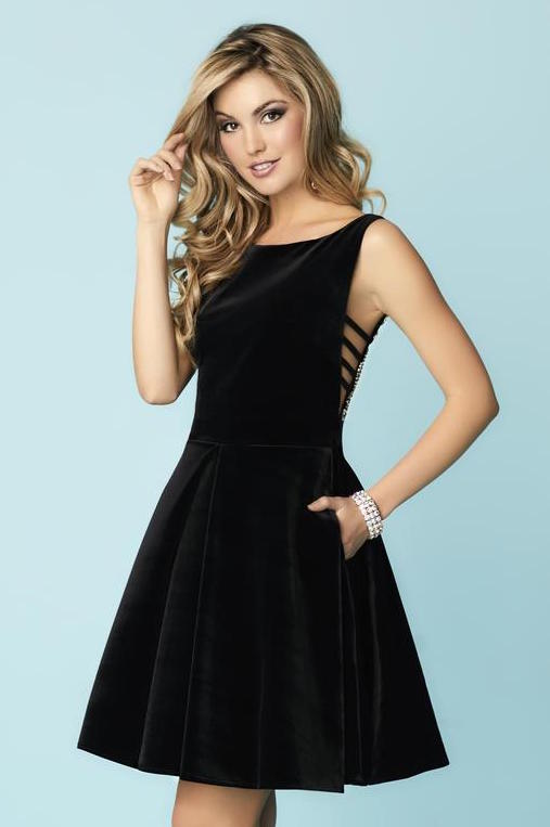 This black Hannah S 27141 short dress has a sheer metallic beaded back and bow on the waist.