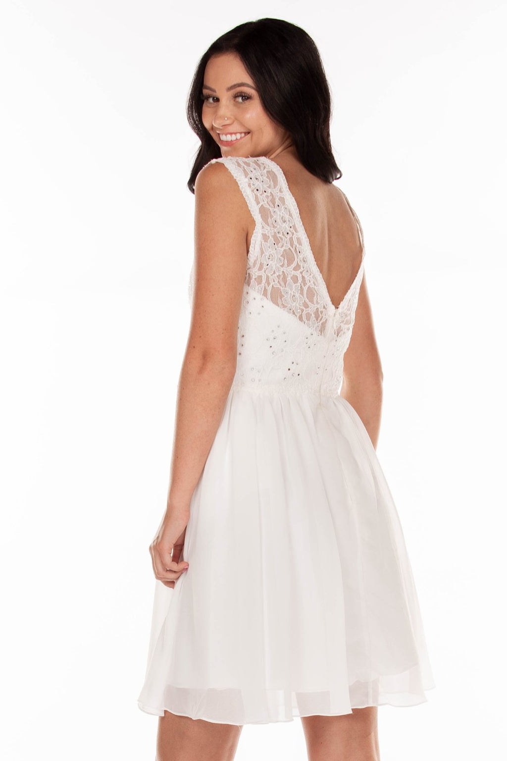 This PY 7502 fit-n-flare cocktail dress in ivory features a beaded lace high neck bodice with a sweetheart neckline underneath and an open back.