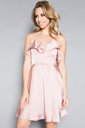 This MT 8921 cocktail dress in mauve features a ruffle on the bodice, a flowy skirt, and a strappy criss-cross back.