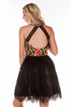 This black DJ 4338 two-piece cocktail dress has a floral bodice and tulle skirt.