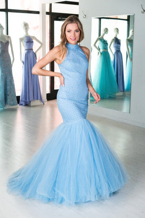 This Sherri Hill 51779 mermaid gown in light blue features beading, a tulle skirt, and a high neck.