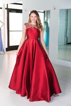 This JAD J14017 simple ballgown in burgundy features beading on the bodice and a full skirt.