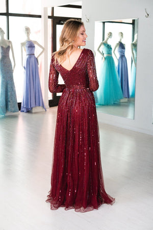 Burgundy beaded prom dress