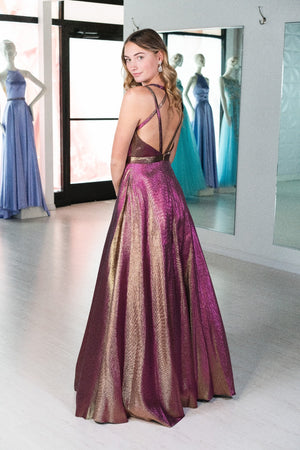 This CAC 2117 A-line shimmer gown in copper features a straight neckline and a strappy open back.