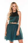 This teal MU M90154 two-piece flowy dress is simple but has unique details in the scalloped trimmed hem and keyhole back.