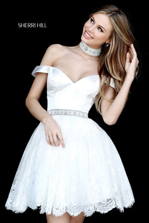 Sherri Hill 51385 ivory short off-the-shoulder