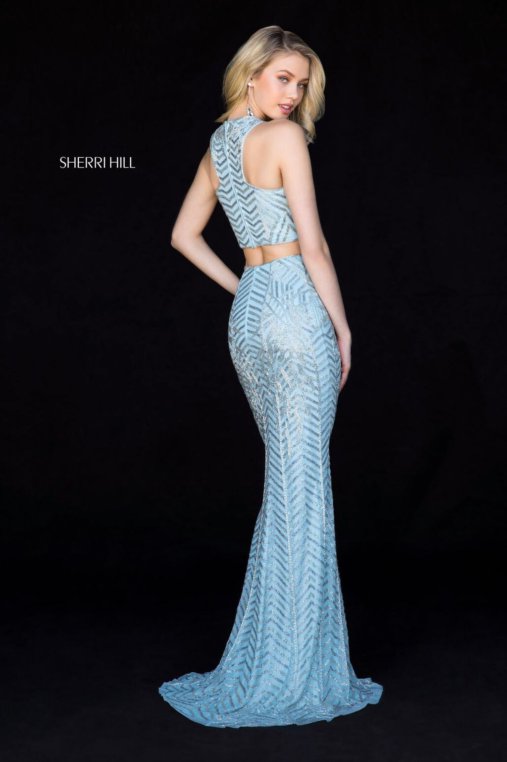 Sherri Hill 51782 light blue/silver beaded fitted two-piece.