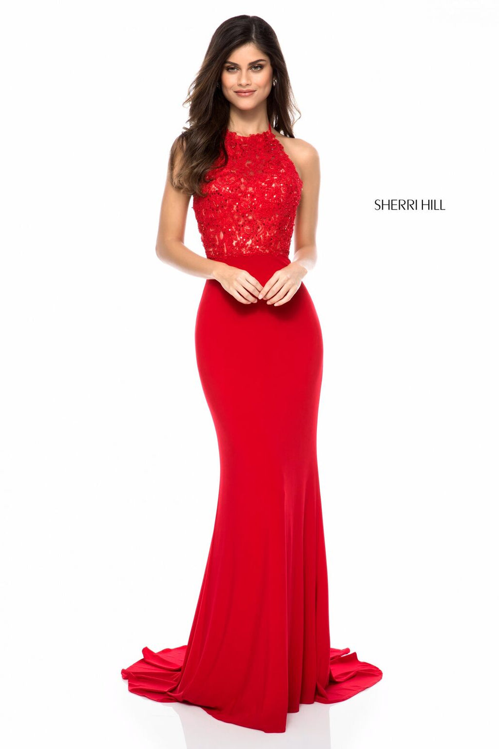 This Sherri Hill 51844 gown in red features a lace appliqué halter bodice and a jersey skirt with an open back.