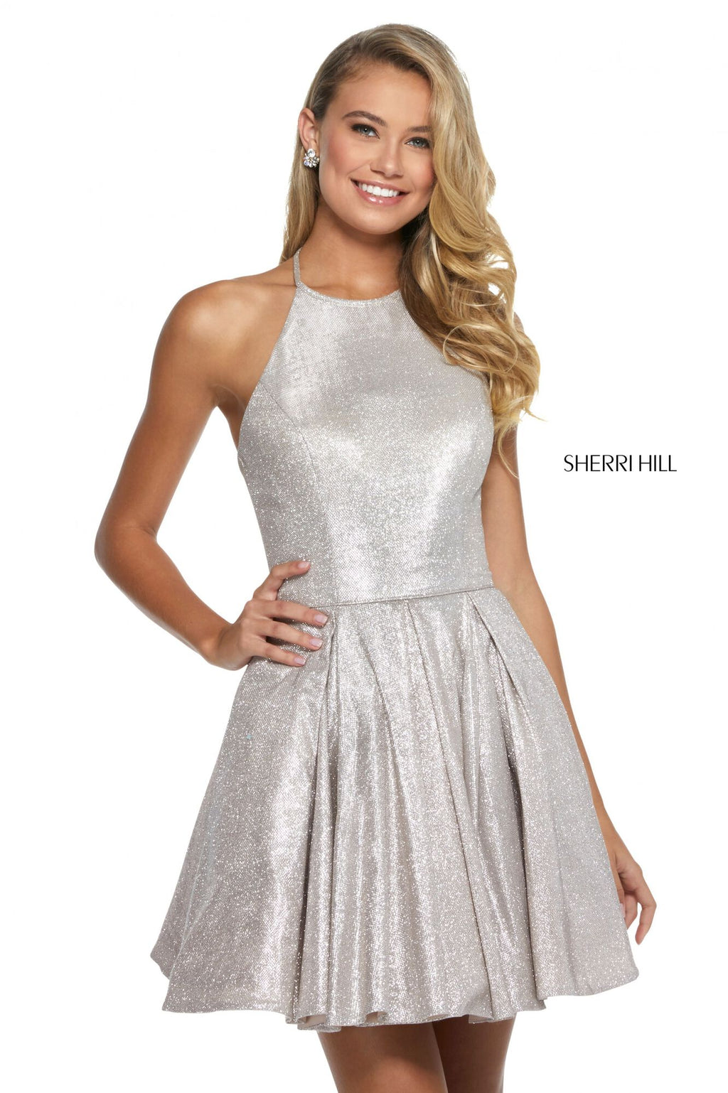 This Sherri Hill 52970 A-line cocktail dress in nude/silver features glitter throughout and a high halter neckline.