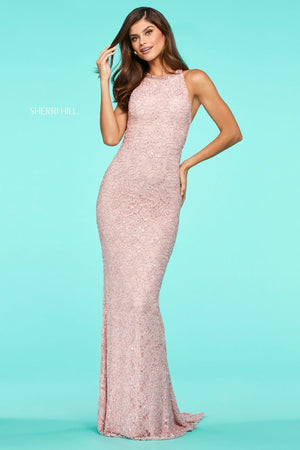 This Sherri Hill 53442 fitted gown features sequin lace and a high cut halter style neckline.